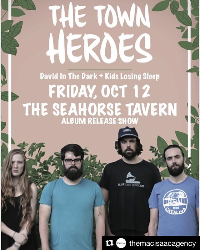 #Repost @themacisaacagency ・・・ Halifax! @thetownheroes release show happens tonight at @theseahorsetavernhfx with @davidinthedark and @kidslosingsleep.  This is a f'on great lineup.