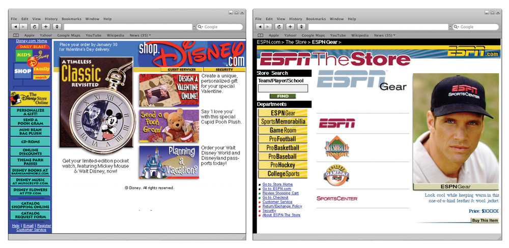 The ESPN Store, and The Disney Store Online