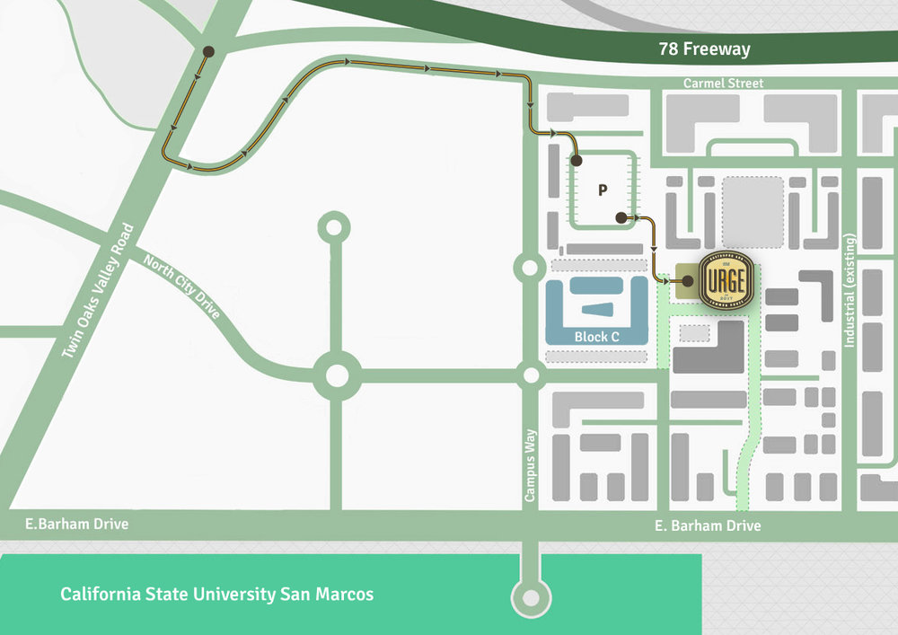 directions from 78 - Exit Twin Oaks Valley Rd. then turn left onto Carmel St. Turn right onto Campus Way and park at the structure. From there, follow the path directly to our door.
