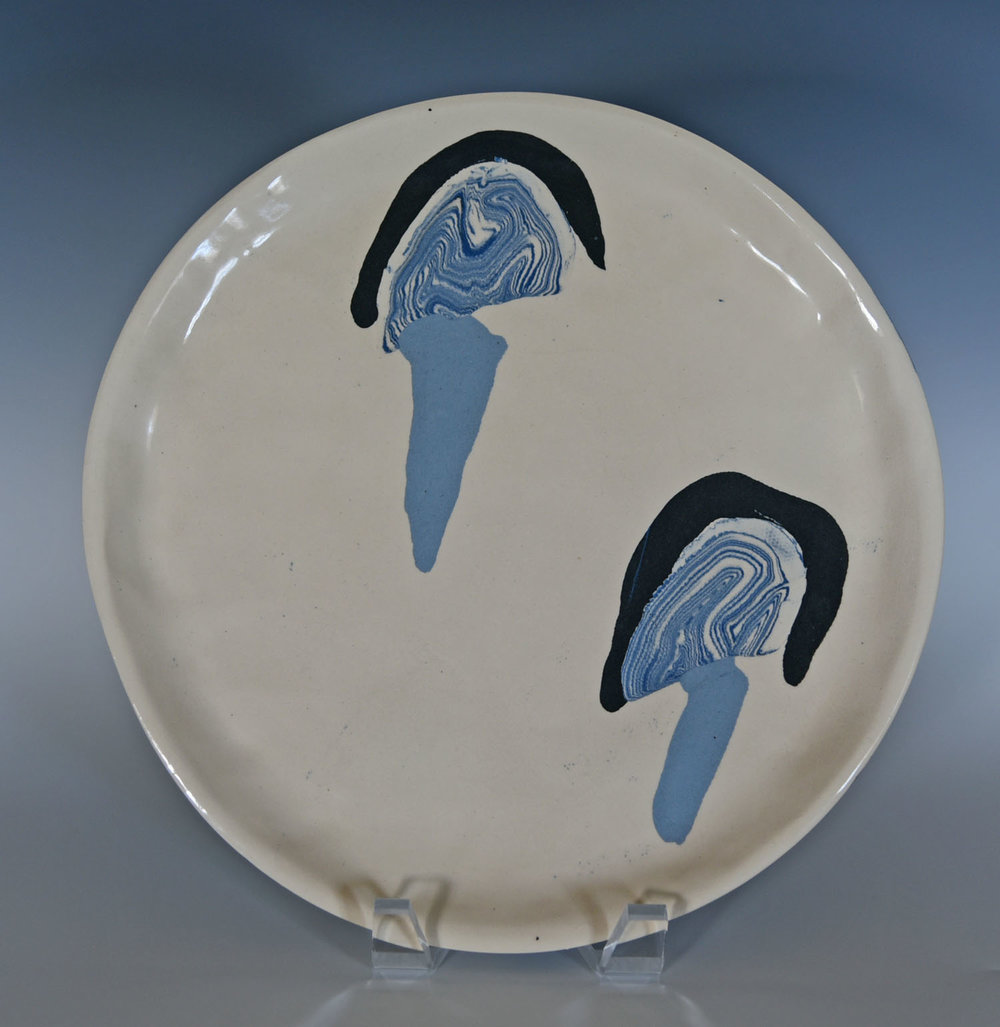 Stoneware, colored clay, serving platter