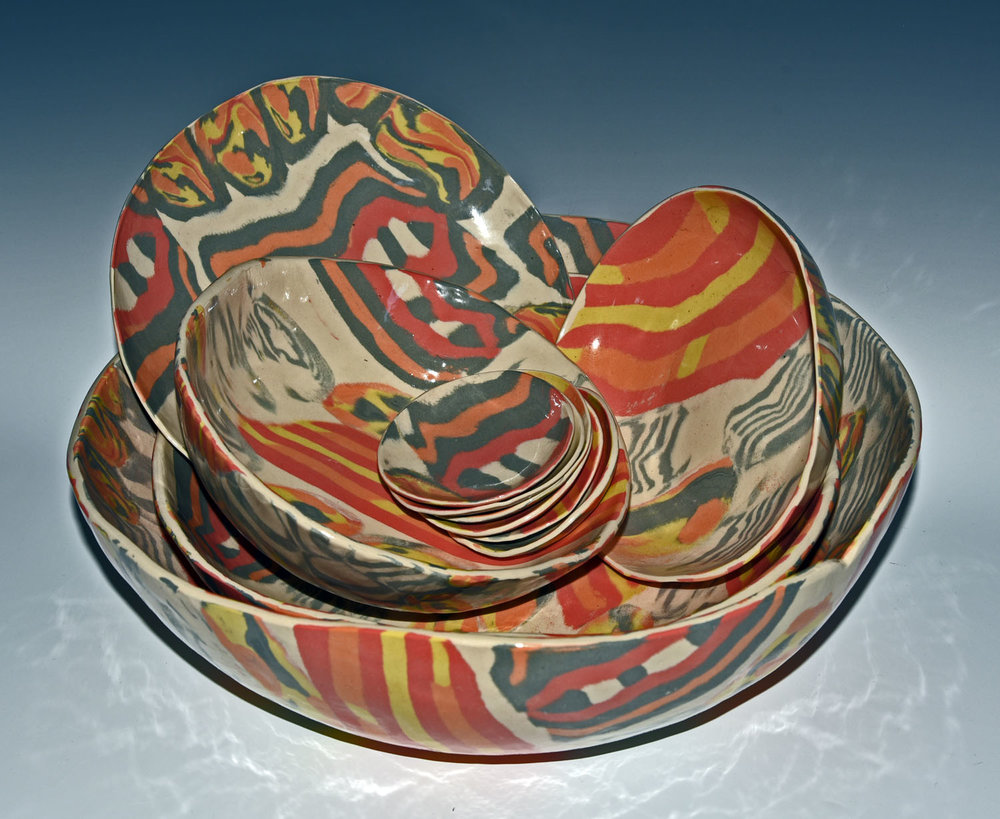 Stoneware serving pieces, colored clay