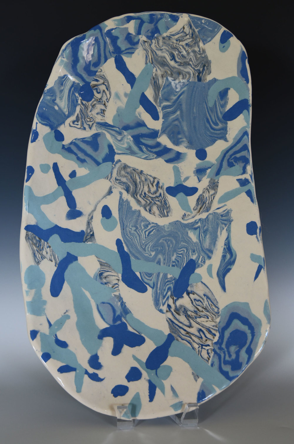 Wonky stoneware platter, colored clay