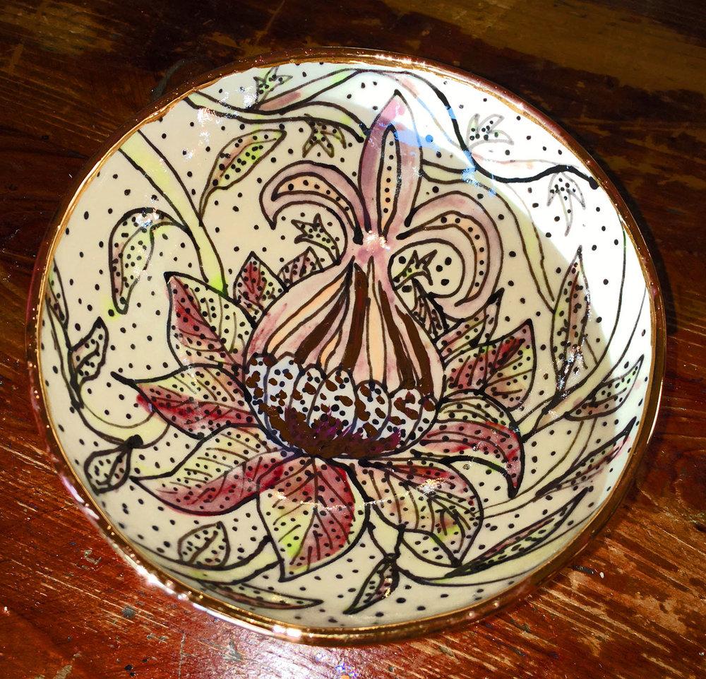 Wonky porcelain flower bowl, gold luster
