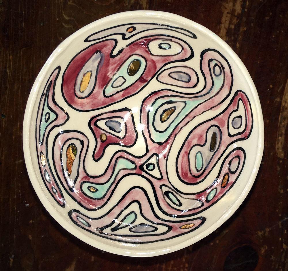 """Amoeba"" pattern porcelain bowl, gold luster"