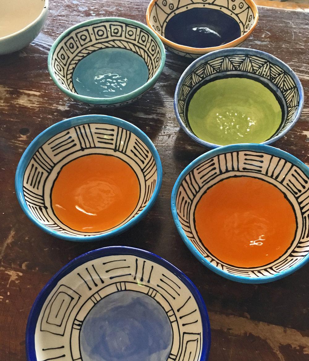 Porcelain bowls, assorted patterns