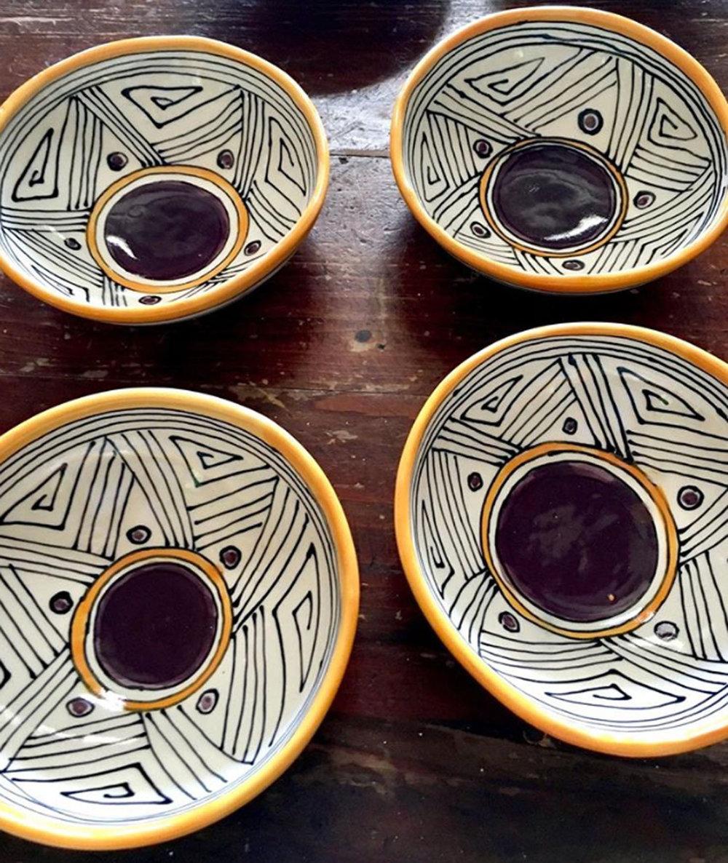 Porcelain bowls, purple/orange