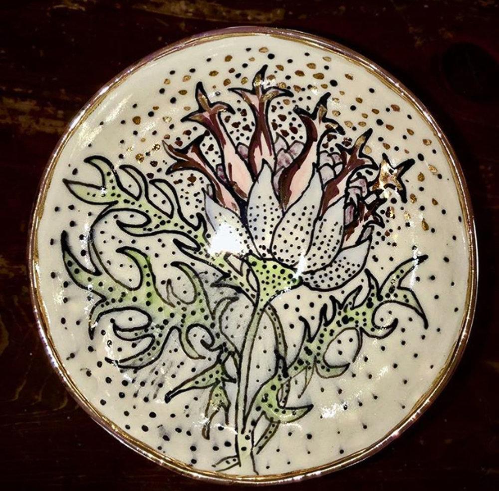 Porcelain bowl, botanical, gold luster