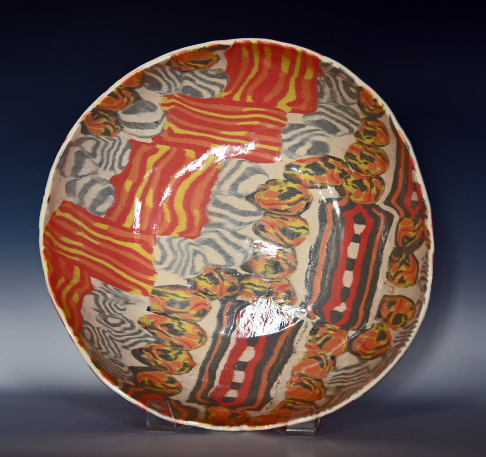 stoneware, colored clay large bowl