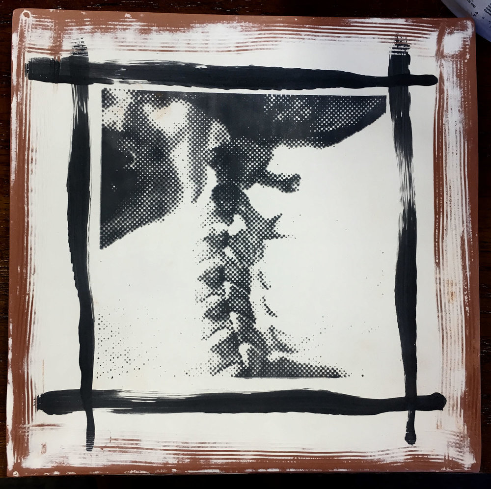 Cervical spine plate, screen-printed