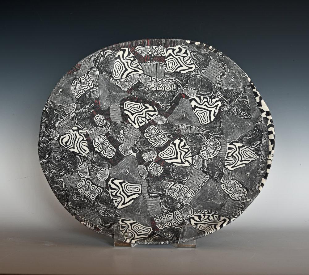 Nerikomi porcelain plate