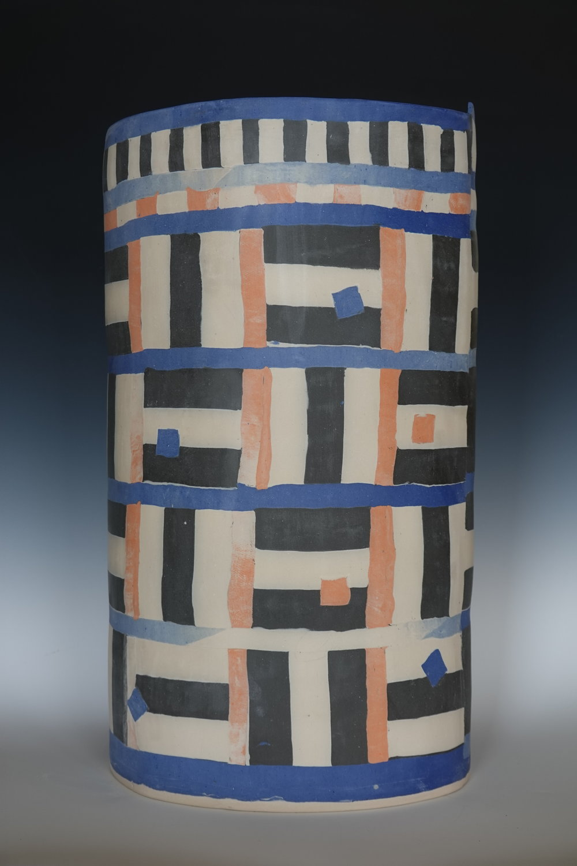 rosenberg.jessica.2019.Blue white black peach quilted clay vessel.JPG