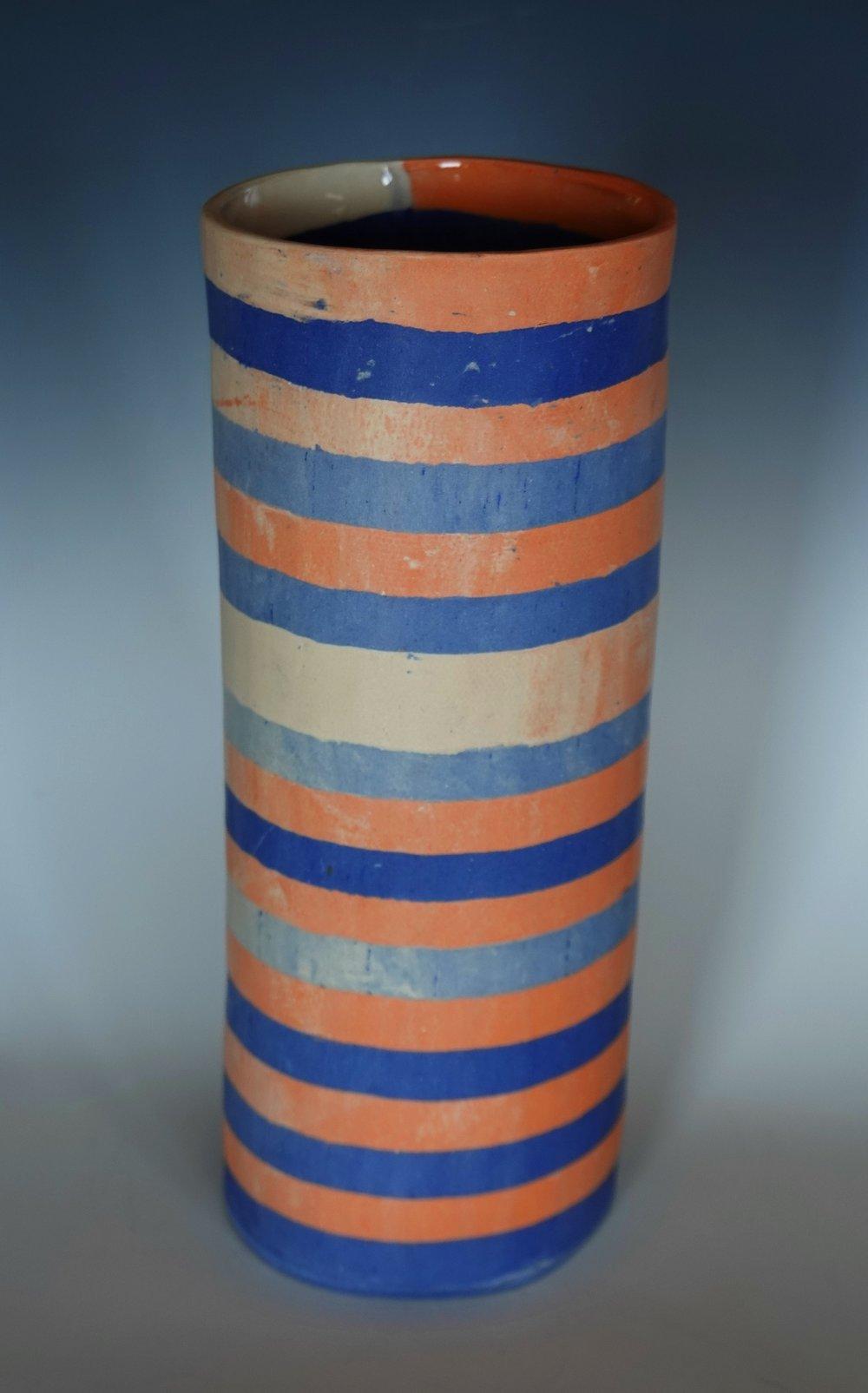 rosenberg.jessica.2019.Cylinder in blues tangerine and cream stripes.JPG