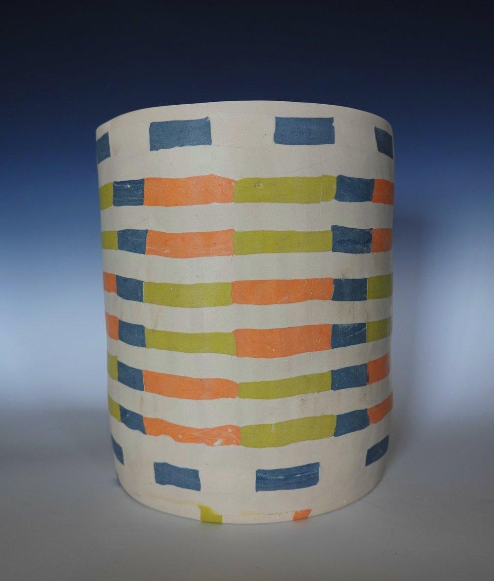 rosenberg.jessica.2019.Cylinder in grey lime cream and tangerine stripes.JPG