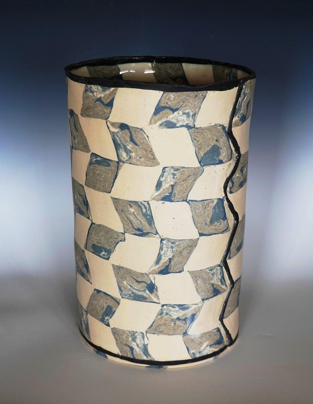 rosenberg.jessica.2019.Medium cylinder with marbled and white  rhombus.JPG