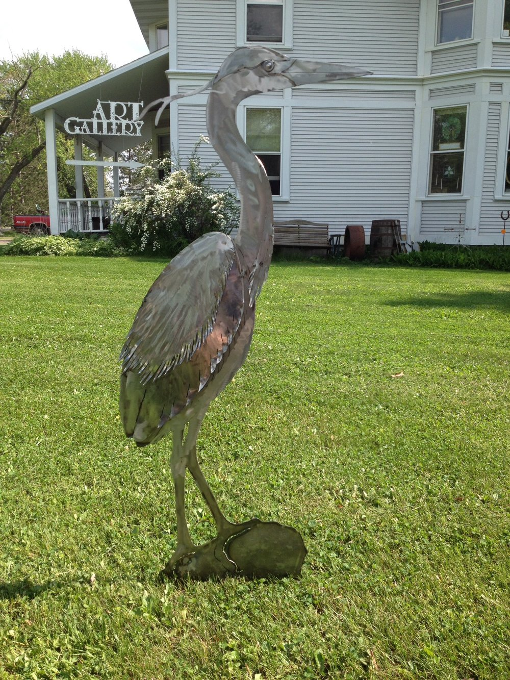 Metal, Hammered Steel, Great Blue Heron $225