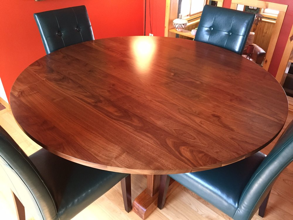 Wood, Walnut and Oak Trestle Frame Dining Room Table, Bromann Home, Rib Lake, WI