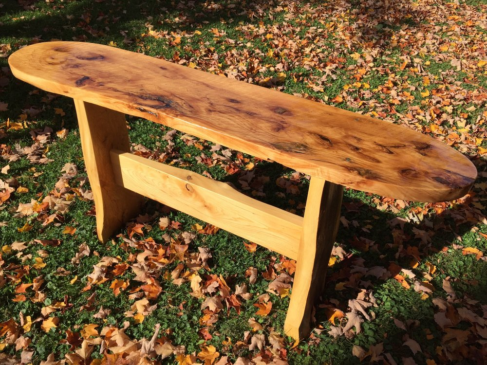 Wood, Elm Burl, Trestle Slab Table, Ziembo Home, Brooklyn Center, MN