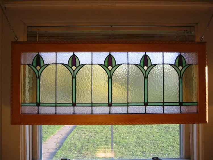 Art Deco Tulip Restoration Stained Glass With Handcarved Basswood Frame - $1050ame - $1050