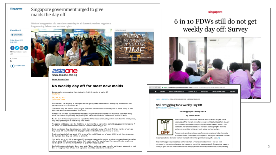 Stories from news about the inequality that Foreign Domestic Workers face in Singapore