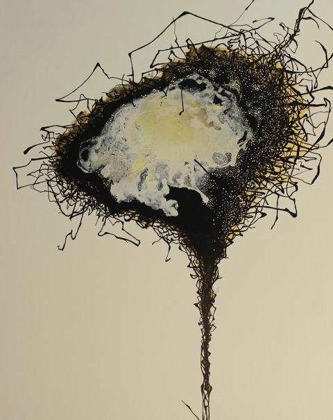 """""""BIRDBRAIN"""", 60"""" X 48"""", A/C, 2014"""