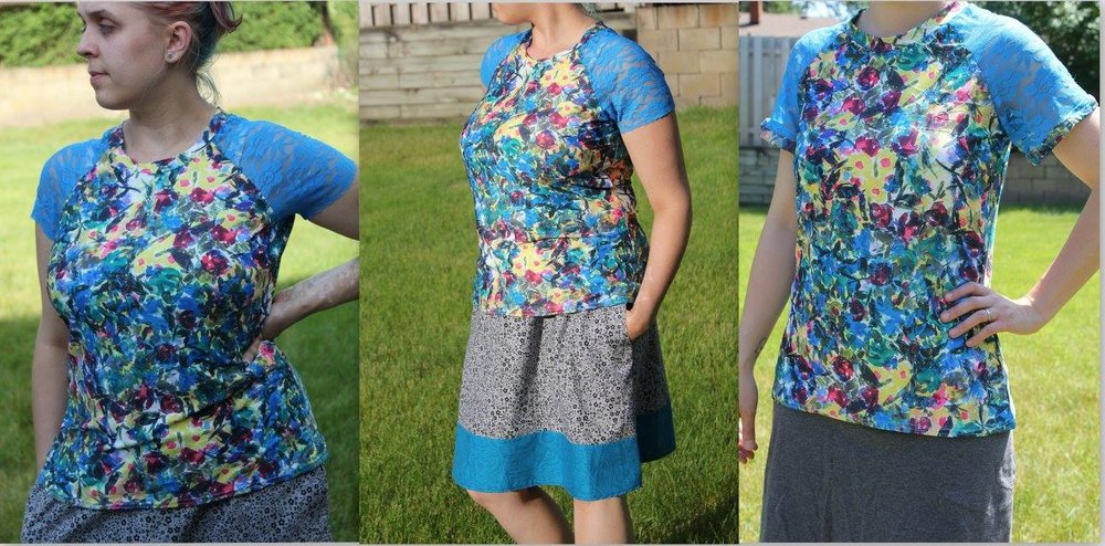 Candace's raglan tops and fun skirts are available on her etsy shop and at local craft fairs fallow her on  FB  to see where she'll be next.