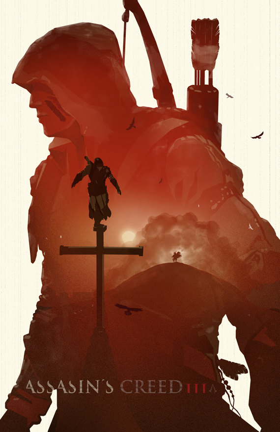 otlgaming :       ASSASSIN'S CREED —THREE GENERATIONS OF ASSASSINS    Just like how the  Assassin's Creed  series spans centuries, so does Michael Rogers's design based on the series.   His design features all three assassins, with Connor as the main silhouette, Ezio standing on the cross, and Altaïr riding a horse in the distance.   Posters are $15 and   available in Michael's Etsy.     You might also like  Deus Assassin .