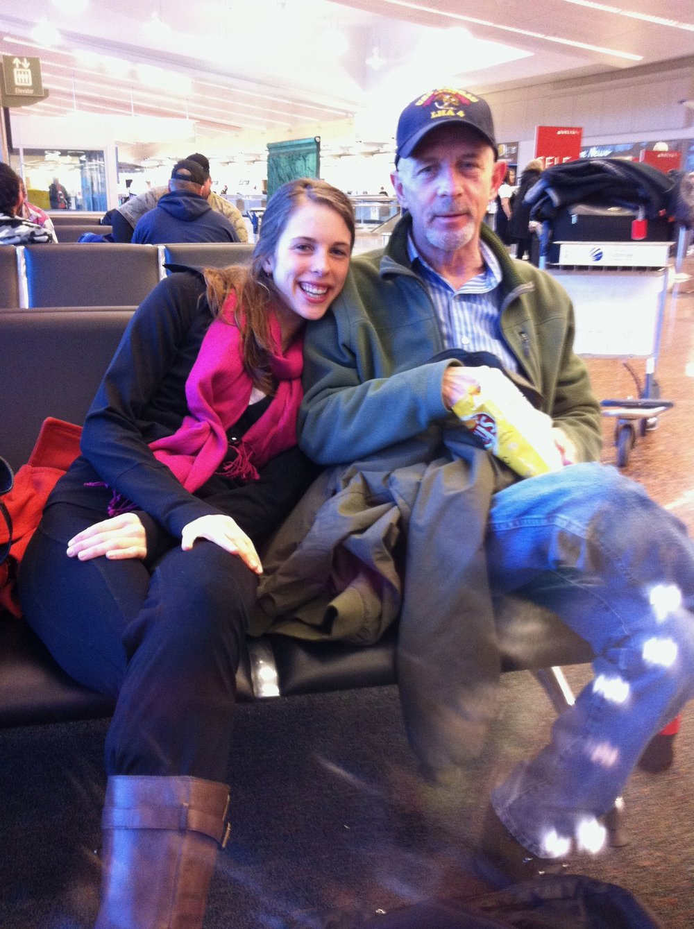 Dad and me waiting for my flight