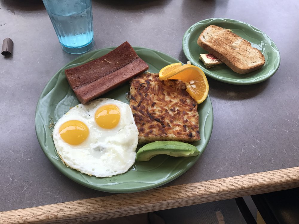 Breakfast at Snow City cafe. Obama ate breakfast here when he visited the state. That sausage is reindeer sausage.