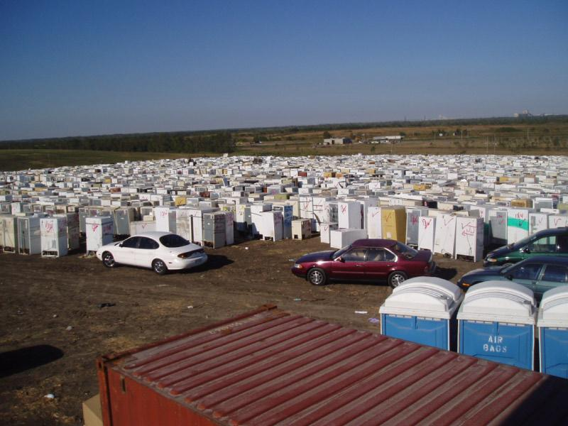 A temporary collection site for the over 300,00 refrigerators disposed of in the aftermath of Hurricane Katrina.