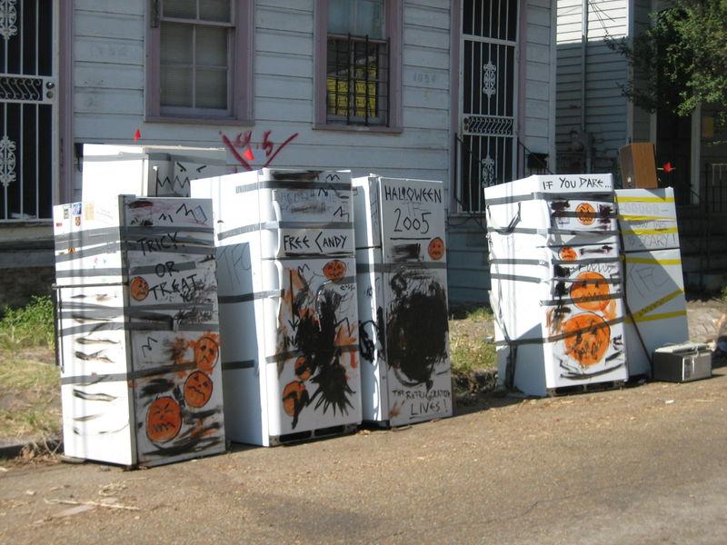 Fridges were still on the street for Halloween.
