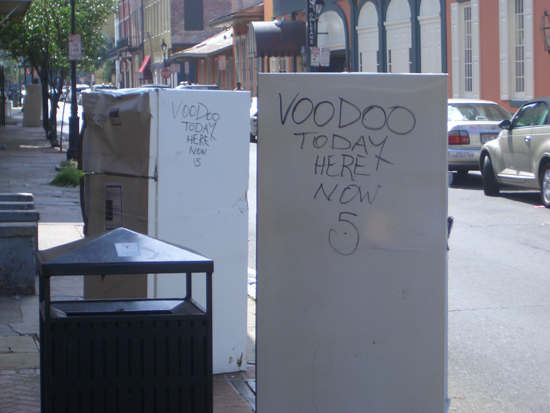 """A prolific tagger wrote """"Voodoo Today Here Now 5"""" on hundreds if not thousands of fridges all over New Orleans. Later it became """"Condo Voodoo Today Here Now 5"""". Ubiquitous, yet cryptic."""
