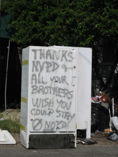 """The N.Y.P.D assisted in the recovery. Their efforts were very much appreciated by local residents. Many fridges had """"I 'heart' NYPD."""" written on them."""