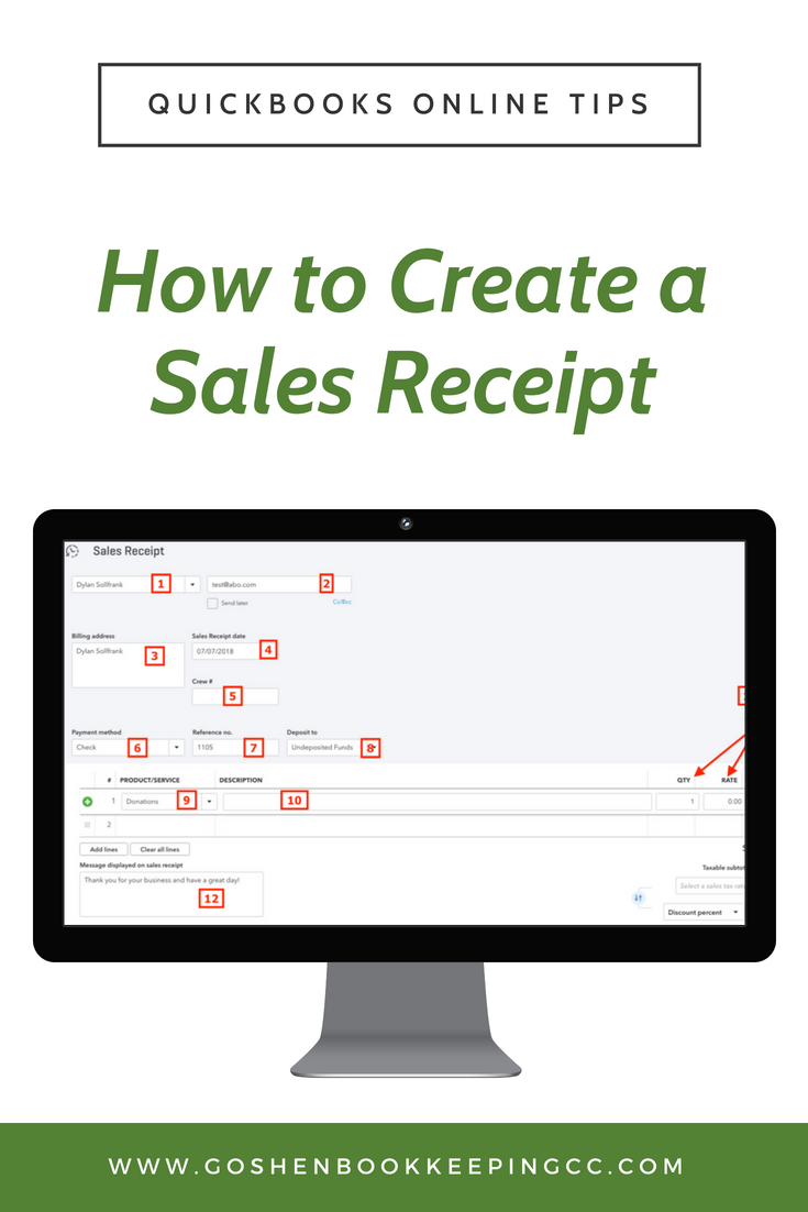 how to create a sales receipt in quickbooks online goshen