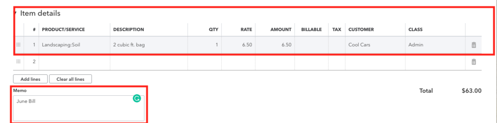 QuickBooks Online Bill Item Details.png