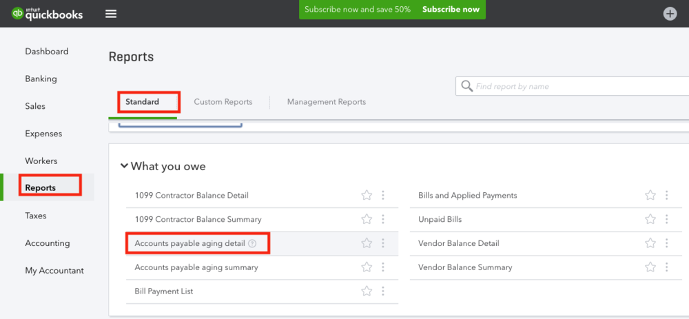 QuickBooks Online Standard Report What You Owe.png