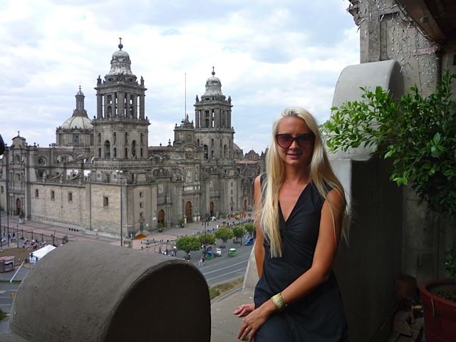 A view of the Cathedral from the Majestic Hotel downtown in the Zocalo.