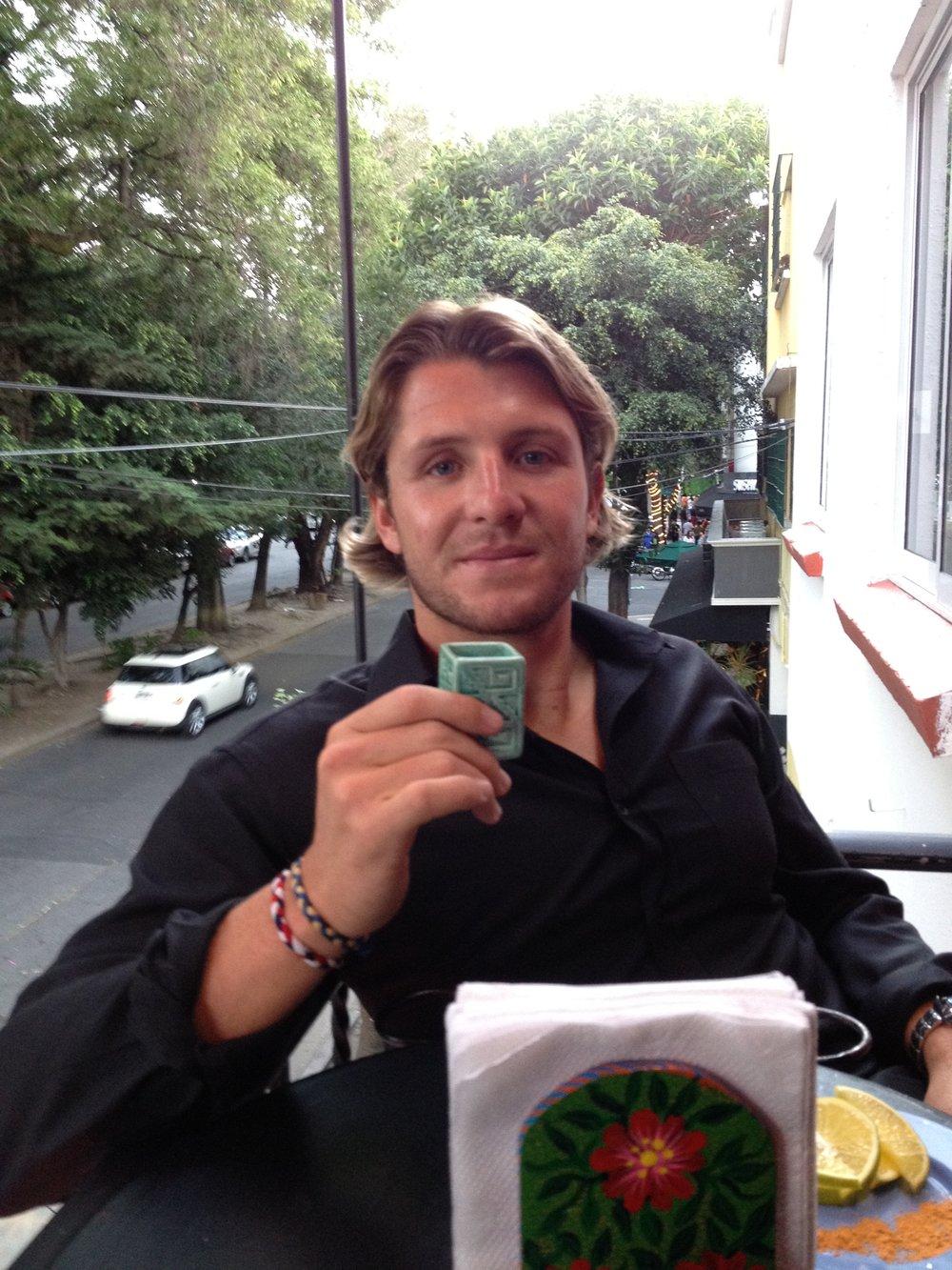 Tony sampling a certain mezcal at La Botica in Condesa.