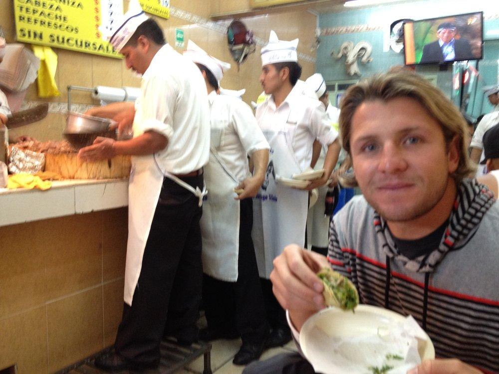 Tony enjoying some delish tacos at Los Panchos.