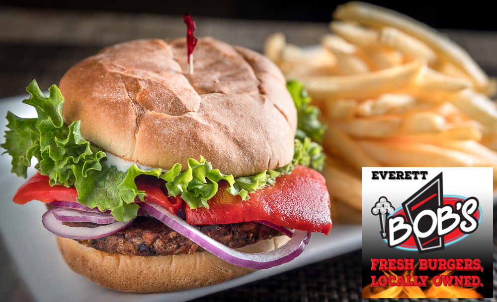 One of our many new and delicious vegan options, the   Smoked Jalapeno Black Bean Burger!