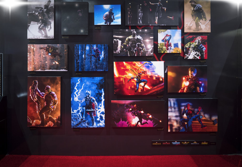 Gallery at the Bluefin/Tamashii Nations booth that contained some of my images. Courtesy:  @blksrs