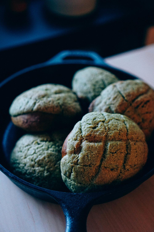 matcha melon pans cooling