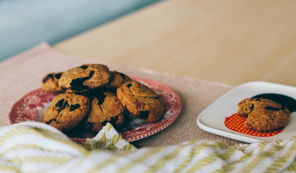 cooled vegan and gluten-free chocolate chip cookies