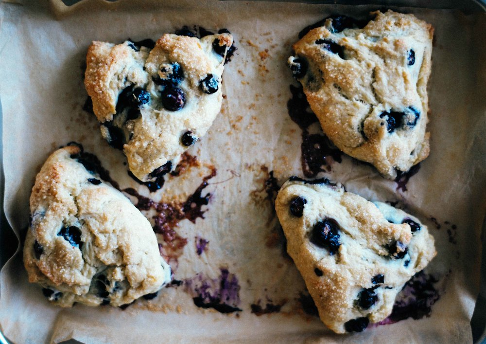 Turbinado sugar coated vegan blueberry scones