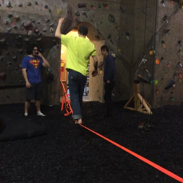 Teaching some of the setting crew how to slack line! #slackline #balance #climbers #setters #routesetters #climbinggym #rockclimbing #climbon