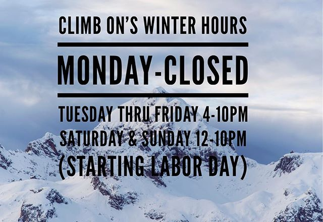 Check out our new hours! Hope to see you in the gym and have a happy Labor Day! #climbon #rockgym #rockclimbing #indoorrockclimbing #homewood #chicagosuburbs #winterhours #newhours #startinglaborday #happylaborday