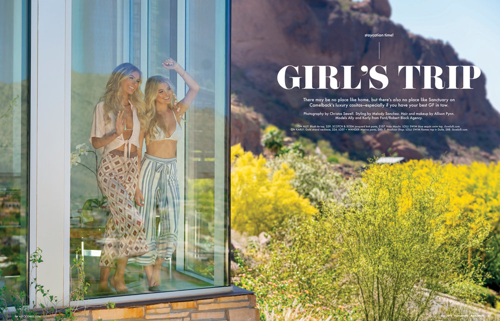 Az Foothills Magazine May 2018 Resort Issue Ft Allison Mason and Karly Riggs of Fordrba by Christos Sewell, Allison Pynn HMU and Style by Melody Sanchez Design De Amore