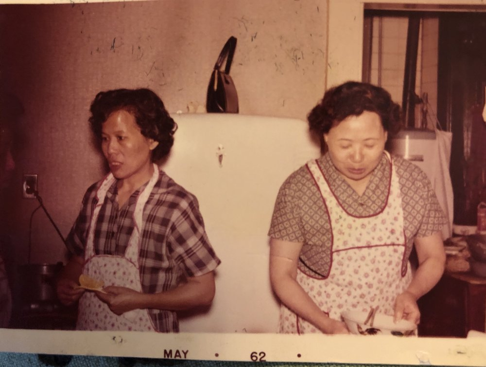 May Soon Yee (Cynthia's mother) and Foong Ying Yee (her aunt) preparing dinner at 116 Hudson Street.