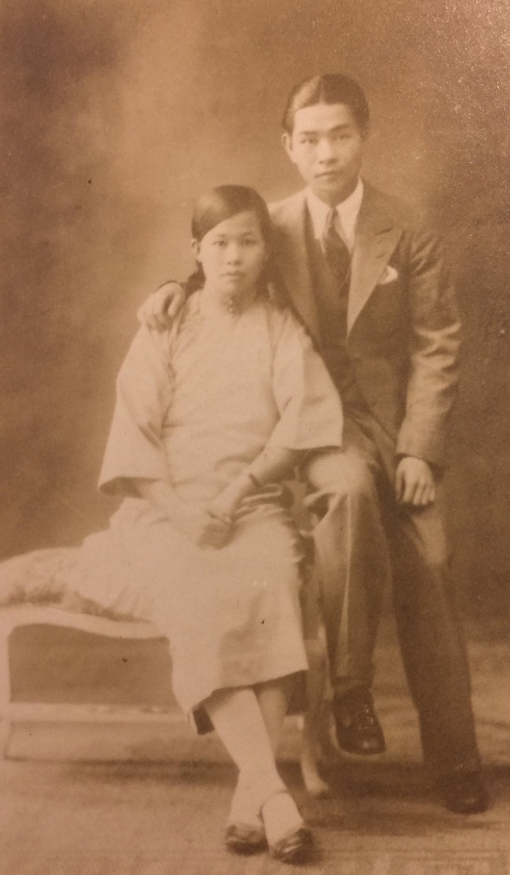 Cynthia's parents, May Soon Gee and Walter Yee, Guangzhou, China, c.1930. They snuck out in the city to take this photo without telling his mother. (photo courtesy of Cynthia Yee)