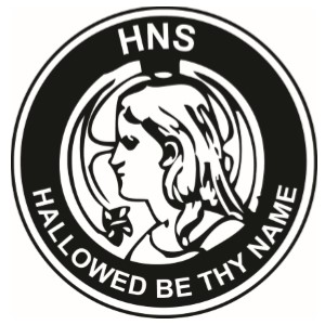 "The Society makes use of a symbol of a man's head, surmounting a rayed halo, with a small Latin cross before his mouth. The motto of the Society is ""Hallowed be Thy Name,"" which sits on the bottom rim of the symbol, the top rim having the letters ""HNS,"" referring to the initials of the Society."