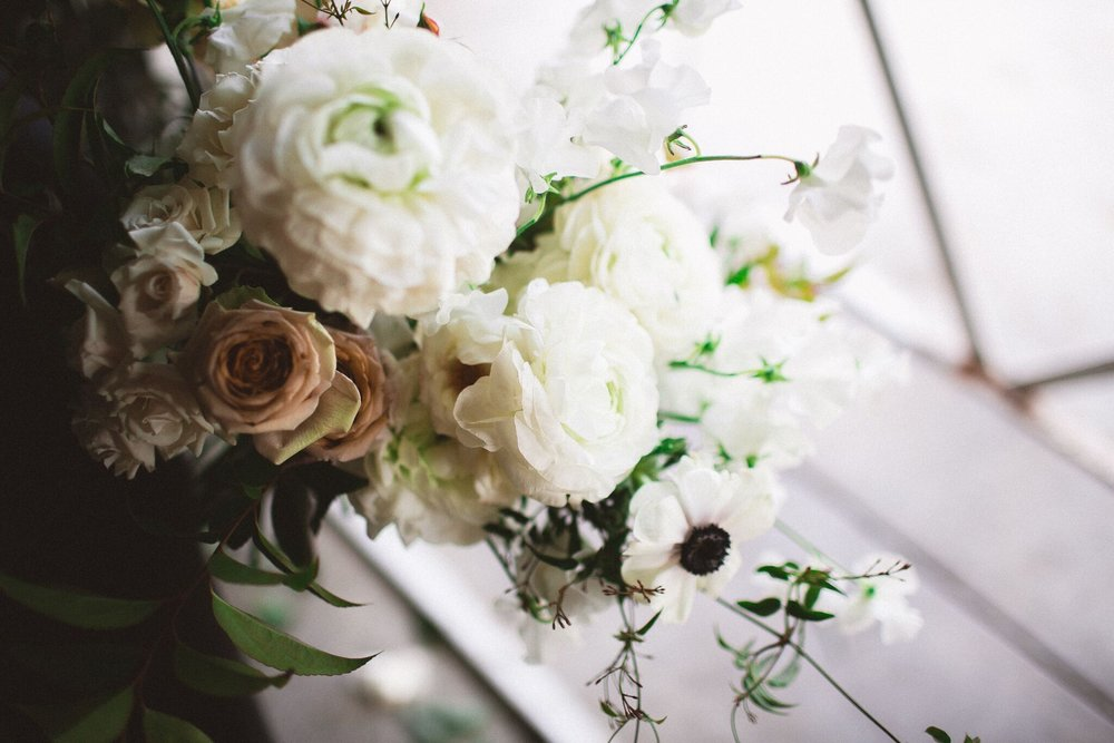 light, white and peach wedding florals | siren floral co.